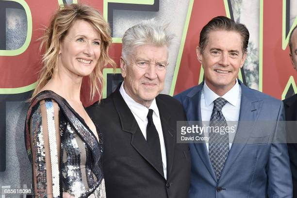 Laura Dern David Lynch and Kyle MacLachlan attend the World Premiere Of Showtime's 'Twin Peaks' Arrivals at The Theatre at Ace Hotel on May 19 2017...
