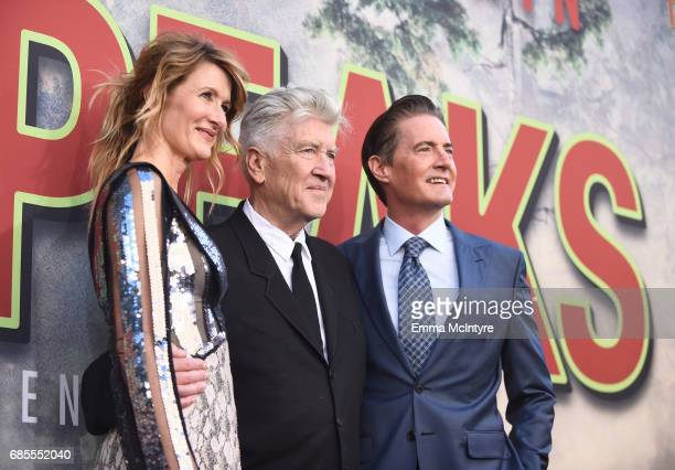 Laura Dern David Lynch and Kyle MacLachlan attends the premiere of Showtime's 'Twin Peaks' at The Theatre at Ace Hotel on May 19 2017 in Los Angeles...