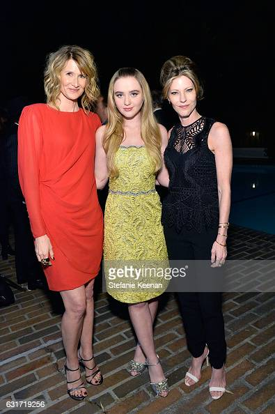 Laura Dern Kathryn Newton and Robbie Myers attend ELLE's Annual Women In Television Celebration 2017 at Chateau Marmont on January 14 2017 in Los...