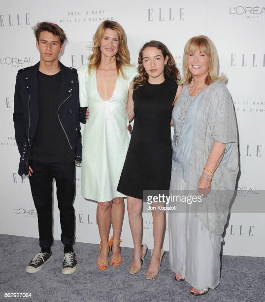 Laura Dern son Ellery Harper daughter Jaya Harper and mom Diane Ladd arrive at ELLE's 24th Annual Women in Hollywood Celebration at Four Seasons...