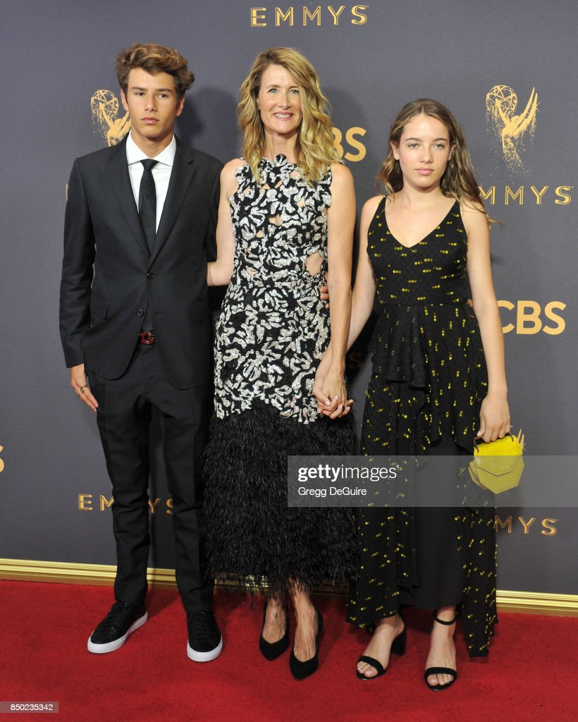 Laura Dern, son Ellery Walker Harper and daughter Jaya Harper arrive at the 69th Annual Primetime Emmy Awards at Microsoft Theater on September 17, 2017 in Los Angeles, California.