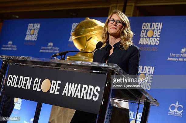 Laura Dern speaks during the Nominations Announcement For The 74th Annual Golden Globe Awards at The Beverly Hilton Hotel on December 12 2016 in...