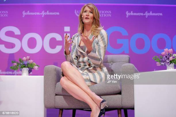 Laura Dern speaks on a panel discussion at the 5th Annual Moms SocialGood event at AXA Event Production Center on May 4 2017 in New York City