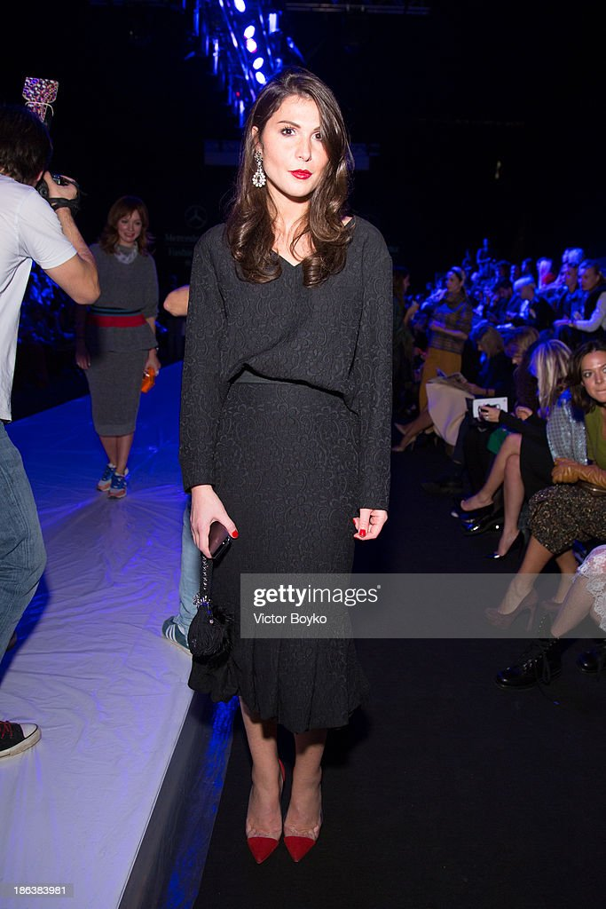 Laura Dhzugeliya attends the Ruban show on day 6 of Mercedes-Benz Fashion Week S/S 14 on October 30, 2013 in Moscow, Russia.