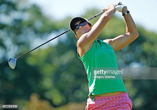 Laura Diaz watches her tee shot on the seventh hole during the first round of the Marathon Classic presented by Owens Corning and OI at Highland...