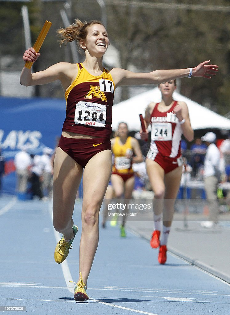 Laura Docherty, of the Minnesota Gophers, celebrates after anchoring a victorious team in the Women's Distane Medley at the Drake Relays, on April 27, 2013 at Drake Stadium, in Des Moines, Iowa.