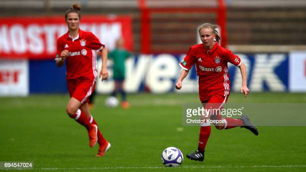 Laura Donhauser of Bayern runs with the ball during the B Junior Girl's German Championship Semi Final match between SV Meppen and Bayern Muenchen at...