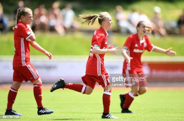 Laura Donhauser of FC Bayern Muenchen celebrates scoring her side's third goal during the B Junior Girl's German Championship Semi Final First Leg...