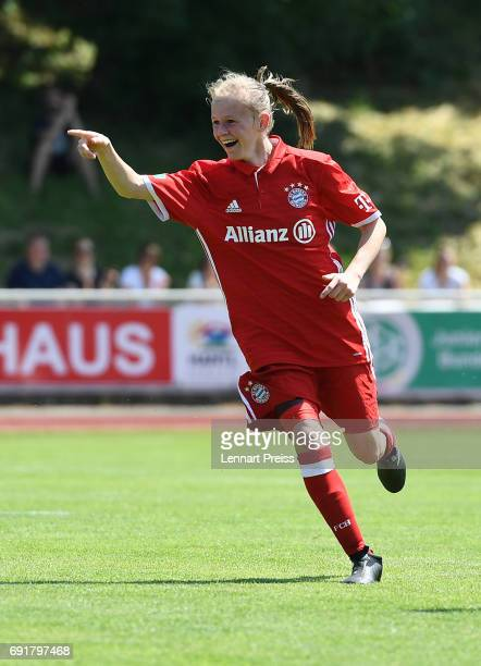 Laura Donhauser of FC Bayern Muenchen celebrates their side's second goal during the B Junior Girl's German Championship Semi Final First Leg match...