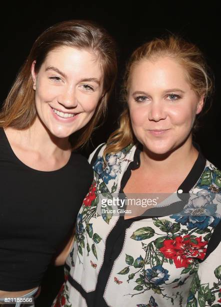 Laura Dreyfuss and Amy Schumer pose backstage at the hit musical 'Dear Evan Hansen' on Broadway at The Music Box Theatre on July 22 2017 in New York...