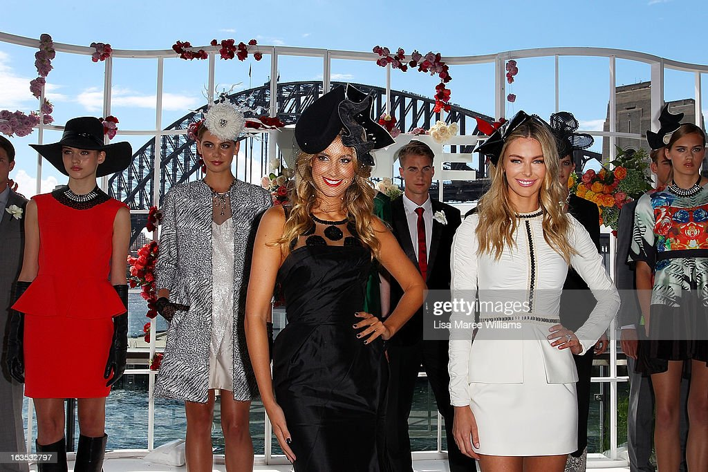 Laura Dundovic and Jennifer Hawkins (c) pose with models at the Myer Autumn/Winter Collection preview at The Bar at the End of the Wharf on March 12, 2013 in Sydney, Australia.