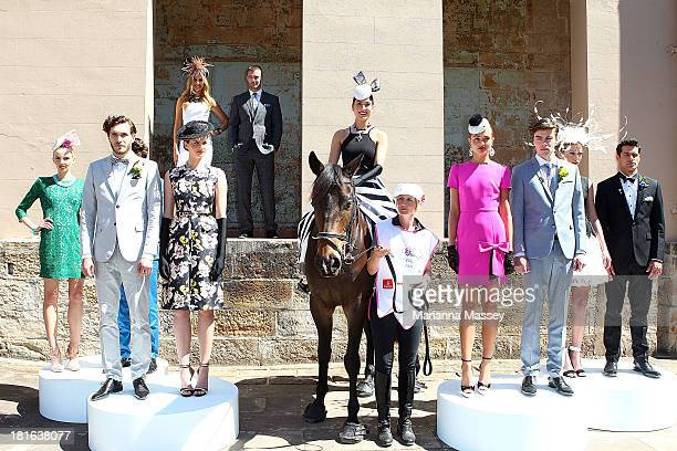 Laura Dundovic Kris Smith Rebecca Bramich and models pose during the Melbourne Cup Carnival Spring Fashion Moment on September 23 2013 in Sydney...
