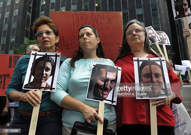 Laura Fattal Cindy Hickey and Nora Shourd the mothers of Josh Fattal Shane Bauer and Sarah Shourd respectively protest outside the Iran Mission in...