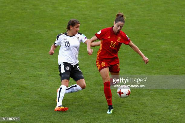 Laura Feiersinger of Austria and Vicky Losada of Spain battle for possession during the UEFA Women's Euro 2017 Quarter Final match between Austria...