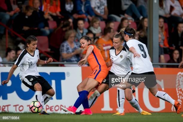Laura Feiersinger of Austria Lieke Martens of The Netherlands Virginia Kirchberger of Austria Sarah Zadrazil of Austriaduring the friendly match...