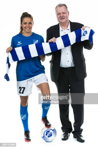 Laura Feiersinger of SC Sand poses during with a representative of Allianz the Allianz Frauen Bundesliga Club Tour on August 22 2017 in Willstatt...