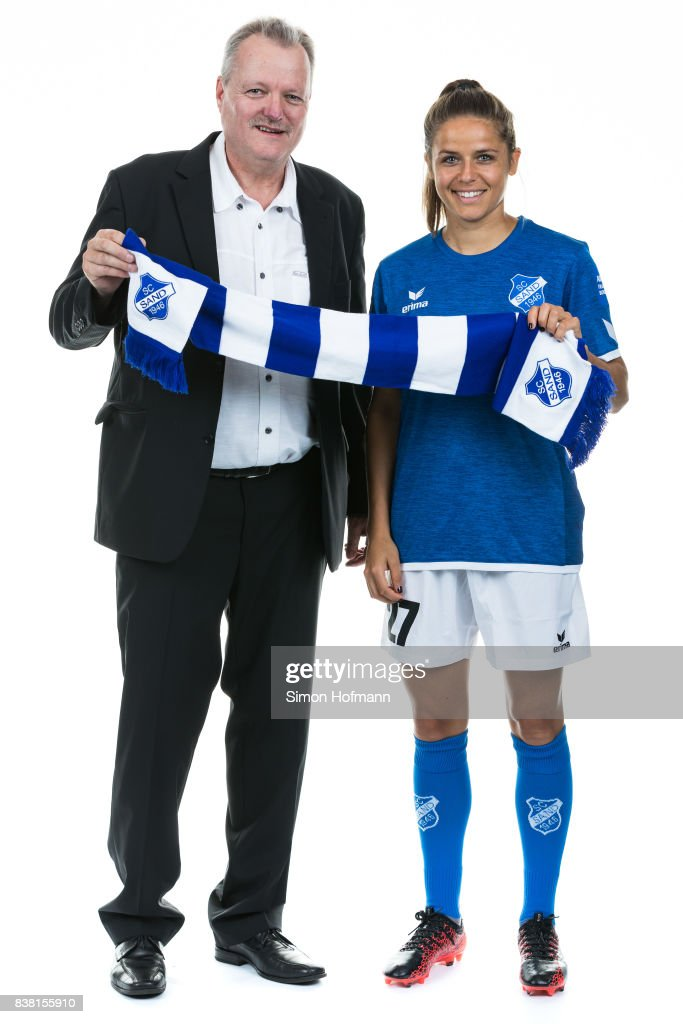 Laura Feiersinger of SC Sand poses during with a representative of Allianz the Allianz Frauen Bundesliga Club Tour on August 22, 2017 in Willstatt, Germany.