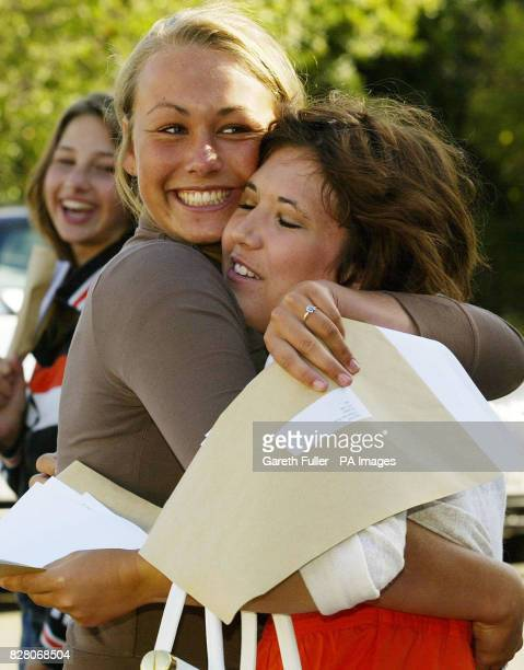 Laura Field and Nathalie Bishop celebrate their GCSE Exam results at Tonbridge Grammar School for Girls in Tonbridge Kent Thursday 25 August 2005 See...