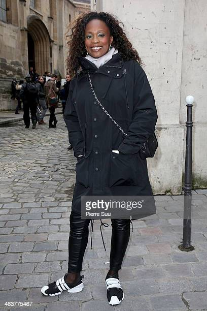 Laura Flessel arrives at the Y3 Menswear Fall/Winter 20142015 Show as part of Paris Fashion Week on January 19 2014 in Paris France