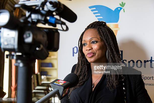 Laura Flessel speaks to a media during the 'Peace and Sport' France launch at Pavillon Ledoyen on May 15 2013 in Paris France