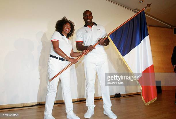 Laura FlesselColovic and Teddy Riner during the presentation of the flag bearer for France at the Rio Olympic Games 2016 at French Olympic Comitee on...