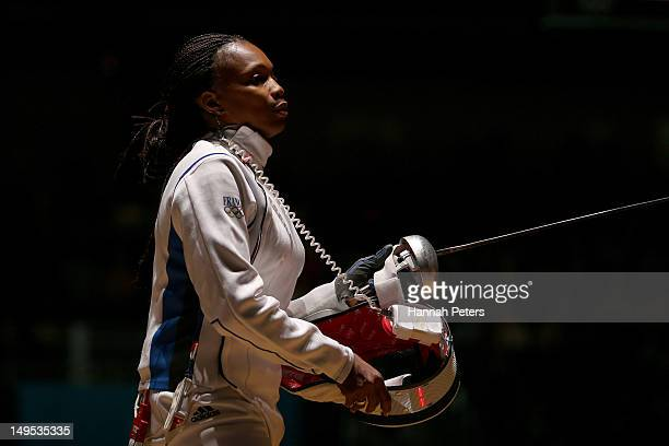Laura FlesselColovic of France looks on against Courtney Hurley of the United States during the Women's Epee Individual Fencing round 32 of on Day 3...