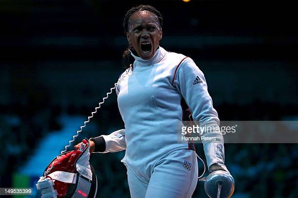 Laura FlesselColovic of France reacts against Simona Gherman of Romania during the Women's Epee Individual Fencing round of 16 on Day 3 of the London...