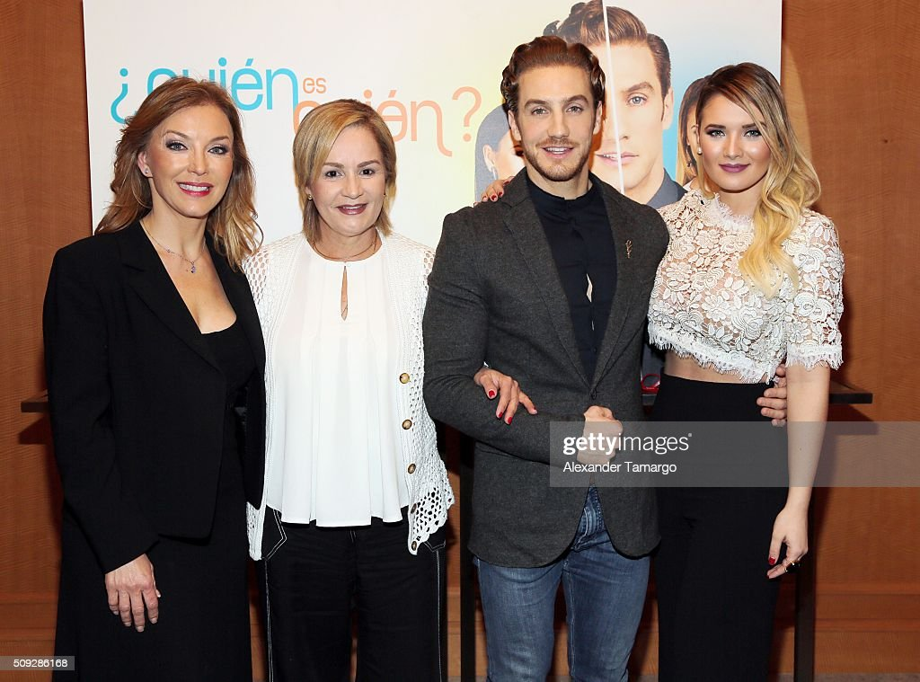 Laura Flores, Carmen Cecilia Urbaneja, <a gi-track='captionPersonalityLinkClicked' href=/galleries/search?phrase=Eugenio+Siller&family=editorial&specificpeople=5619943 ng-click='$event.stopPropagation()'>Eugenio Siller</a> and <a gi-track='captionPersonalityLinkClicked' href=/galleries/search?phrase=Kimberly+Dos+Ramos&family=editorial&specificpeople=7451418 ng-click='$event.stopPropagation()'>Kimberly Dos Ramos</a> are seen at the premier of Telemundo's 'Quien es Quien' at the Four Seasons on February 9, 2016 in Miami, Florida.