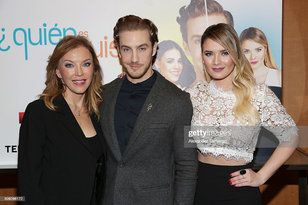 Laura Flores, Eugenio Siller and Kimberly Dos Ramos are seen at the premier of Telemundo's 'Quien es Quien' at the Four Seasons on February 9, 2016 in Miami, Florida.
