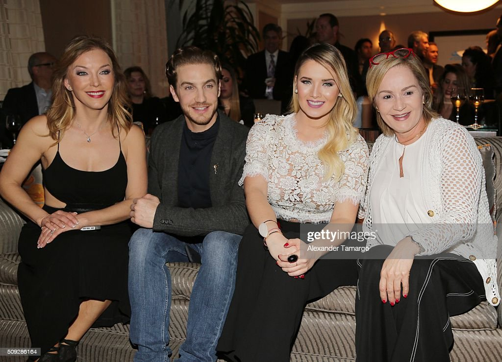 Laura Flores, Eugenio Siller, Kimberly Dos Ramos and Carmen Cecilia Urbaneja are seen at the premier of Telemundo's 'Quien es Quien' at the Four Seasons on February 9, 2016 in Miami, Florida.