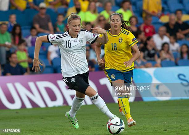 Laura Freigang of Germany challenges Michelle De Jongh of Sweden during the UEFA Women's Under19 European Championship semi final between U19 Germany...