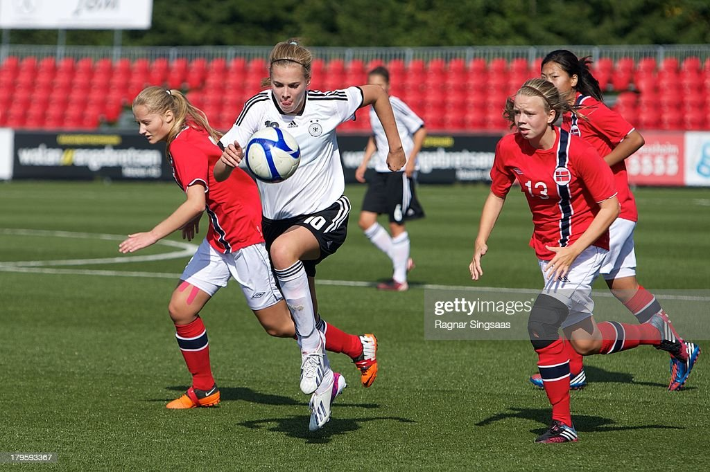 Laura Freigang of Germany in action during the Girls Friendly match between Norway U16 and Germany U16 at the UKI Arena on September 5, 2013 in Jessheim, Norway.