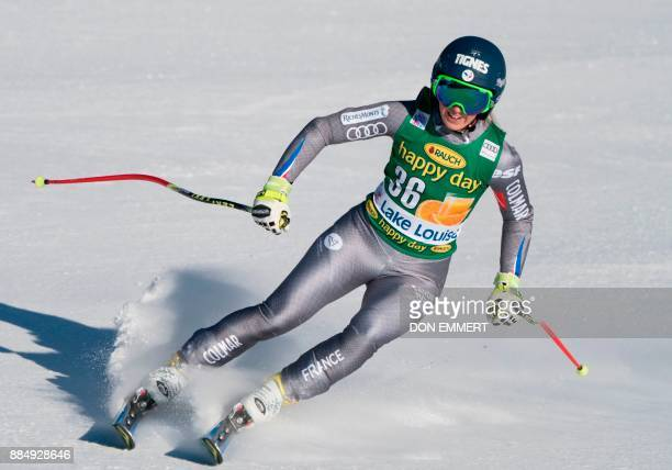 Laura Gauche of France slides into the finish area in 18th place during the FIS Ski World Cup Women's Super G on December 3 2017 in Lake Louise...