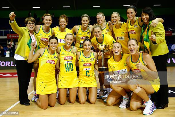 Laura Geitz and the Australian Diamonds hold the Constellation Cup following the International Test match between the New Zealand Silver Ferns and...