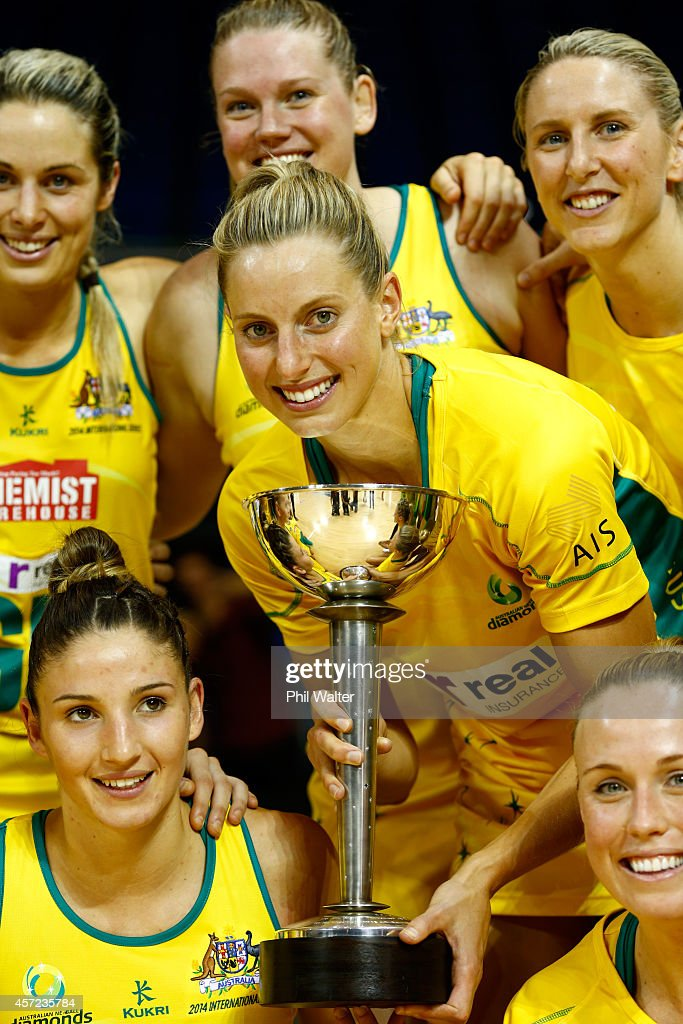 Laura Geitz of Australia holds the Constellation Cup following the International Test match between the New Zealand Silver Ferns and the Australian...
