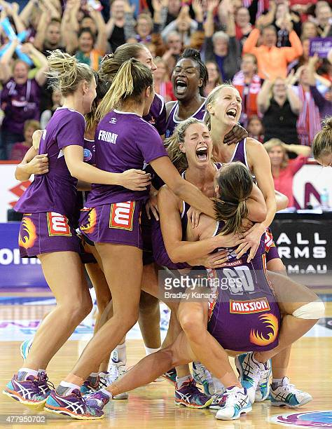 Laura Geitz of the Firebirds and team mates celebrate victory after the 2015 ANZ Championship Grand Final match between the Firebirds and the Swifts...
