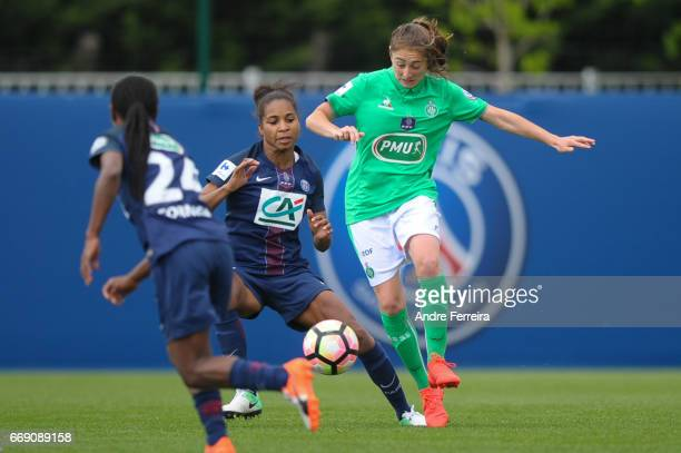 Laura Georges of PSG and Lucie Pingeon of Saint Etienne during the women's National Cup match between Paris Saint Germain PSG and AS Saint Etienne at...
