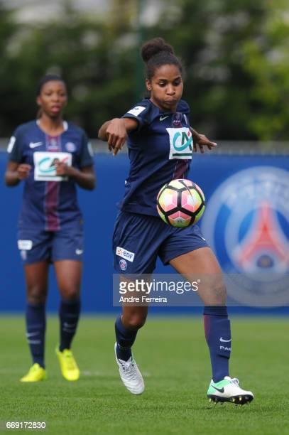 Laura Georges of PSG during the women's National Cup match between Paris Saint Germain PSG and AS Saint Etienne at Camp des Loges on April 16 2017 in...