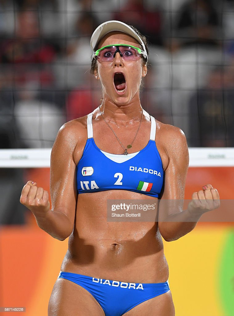 Laura Giombini of Italy reacts during the Women's Beach Volleyball preliminary round Pool D match against Jamie Lynn Broder and Kristina Valjas of Canada on Day 2 of the Rio 2016 Olympic Games at the Beach Volleyball Arena on August 7, 2016 in Rio de Janeiro, Brazil.