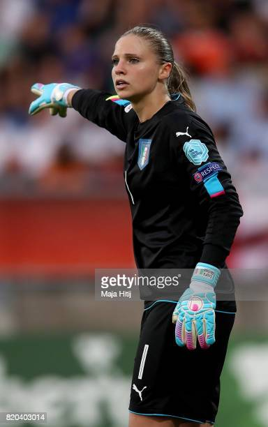 Laura Giuliani goalkeeper of Italy gives instructions during the Group B match between Germany and Italy during the UEFA Women's Euro 2017 at Koning...
