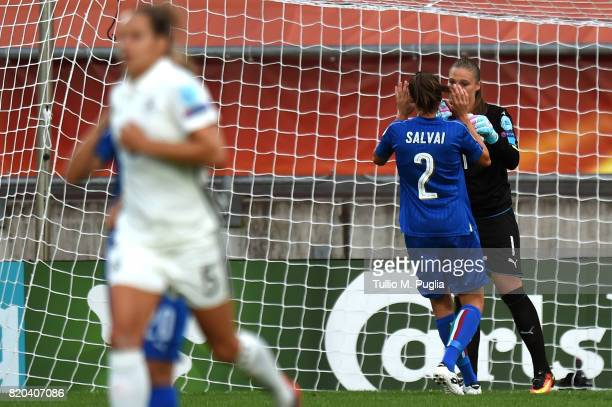 Laura Giuliani goalkeeper of Italy is conforted after substaining a goal during the UEFA Women's Euro 2017 Group B match between Germany and Italy at...