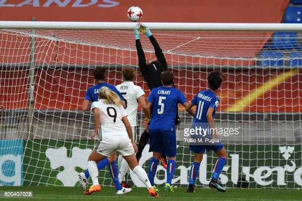Laura Giuliani goalkeeper of Italy misses the ball during the UEFA Women's Euro 2017 Group B match between Germany and Italy at Koning Willem II...