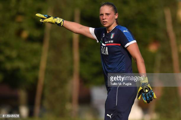 Laura Giuliani in action during a Italy women's football team training session at Coverciano on July 13 2017 in Florence Italy