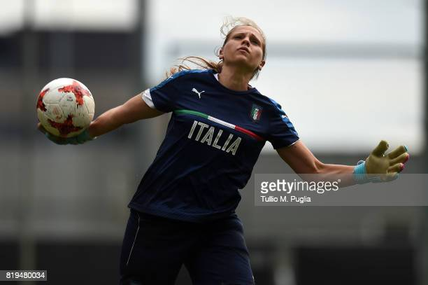 Laura Giuliani of Italy women's national team takes part in a training session during the UEFA Women's EURO 2017 at De Zwervers training center on...
