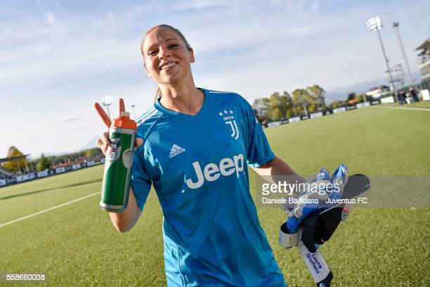 Laura Giuliani of Juventus gestures during the match between Juventus Women and Res Roma Women at Juventus Center Vinovo on October 7 2017 in Vinovo...