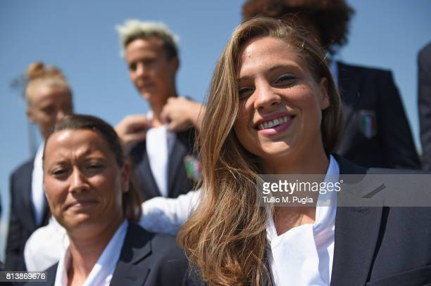 Laura Giuliani poses during the official photoshoot ahead of the UEFA Women UEFA Women's EURO 2017 at Coverciano on July 13 2017 in Florence Italy