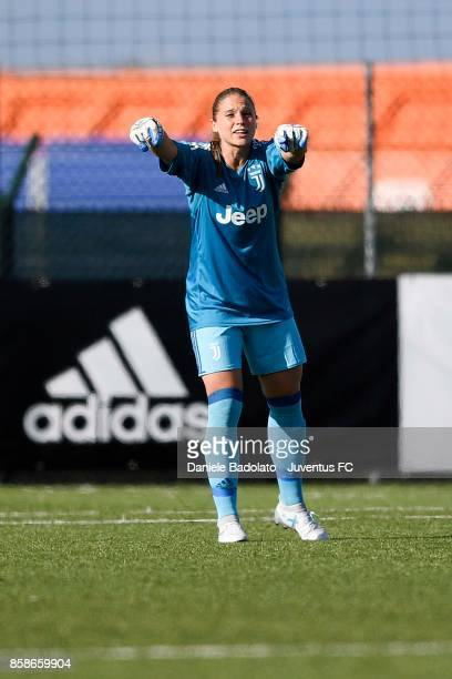 Laura Giuliani reacts during the match between Juventus Women and Res Roma Women at Juventus Center Vinovo on October 7 2017 in Vinovo Italy