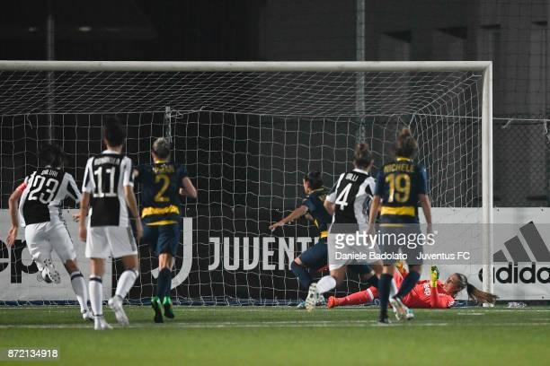 Laura Giuliani stops a penalty kick during the match between Juventus Women and ASG Verona Women at Juventus Center Vinovo on November 4 2017 in...
