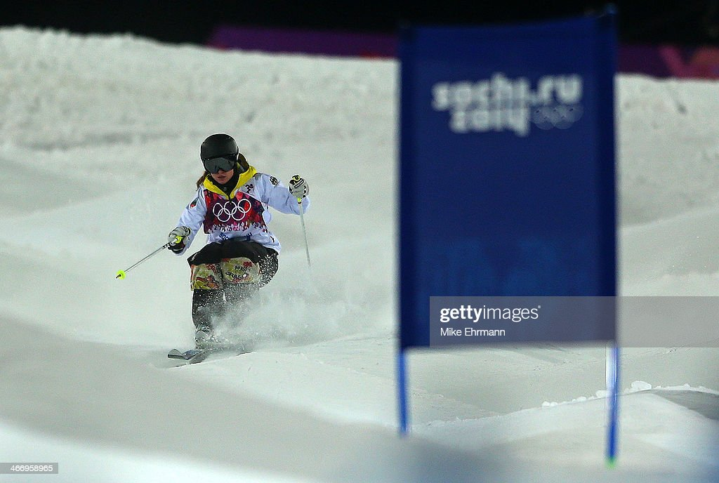 Laura Grasemann of Germany practices during training for Moguls competition at the Extreme Park at Rosa Khutor Mountain on February 5, 2014 in Sochi, Russia.