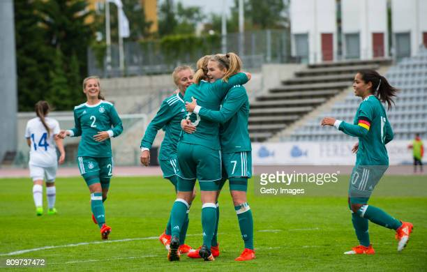 Laura Haas and Ivana Fuso celebrate the third goal during the Nordic Cup 2017 match between U16 Girl's Germany and U16 Girl's Iceland on July 6 2017...